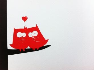 Owls in love (borthday card)