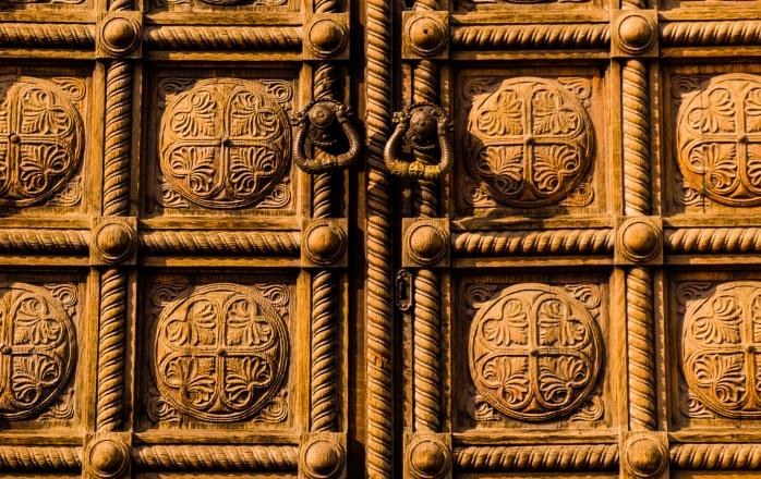 Sveti Aleksandar Nevski cathedral, door detail, Sofia, Bulgaria