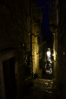 Dubrovnik alleyways at night, Croatia