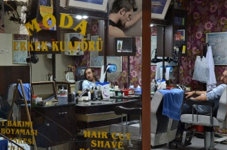 Reflections of a hairdresser, Istanbul, Turkey